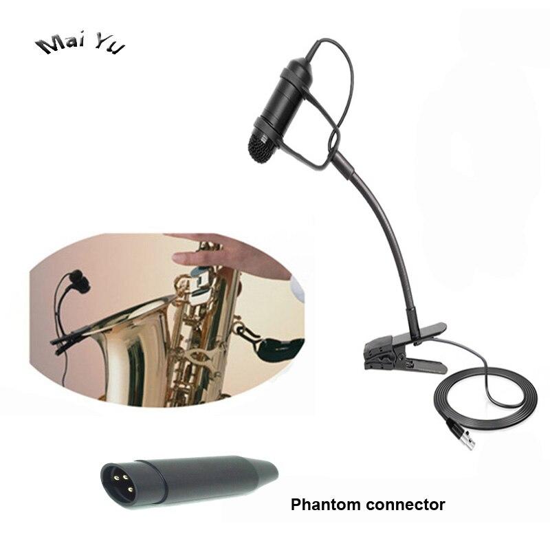 Professional Instrument Saxophone Microphone Condenser Music Microfone For AKG Samson Wireless  System XLR 3pin Mini Phantom XLR
