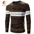 2017 Tops Ropa de la Marca de Los Hombres Suéteres Patchwork Brown del Ajustado de Los Hombres Jersey de Punto Suéter de Los Hombres Hombres autocultivo's Suéter