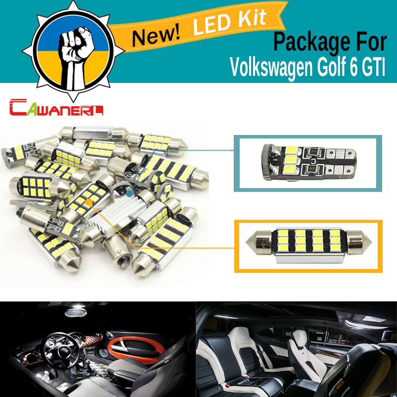 Cawanerl Car 2835 SMD Canbus Interior Dome Map Trunk License Plate Glove Box Light LED Kit White For VW Volkswagen Golf 6 GTI 1pc car styling led 12v dc led white lights dome reading footwell glove box trunk license number plate lamps auto accessories