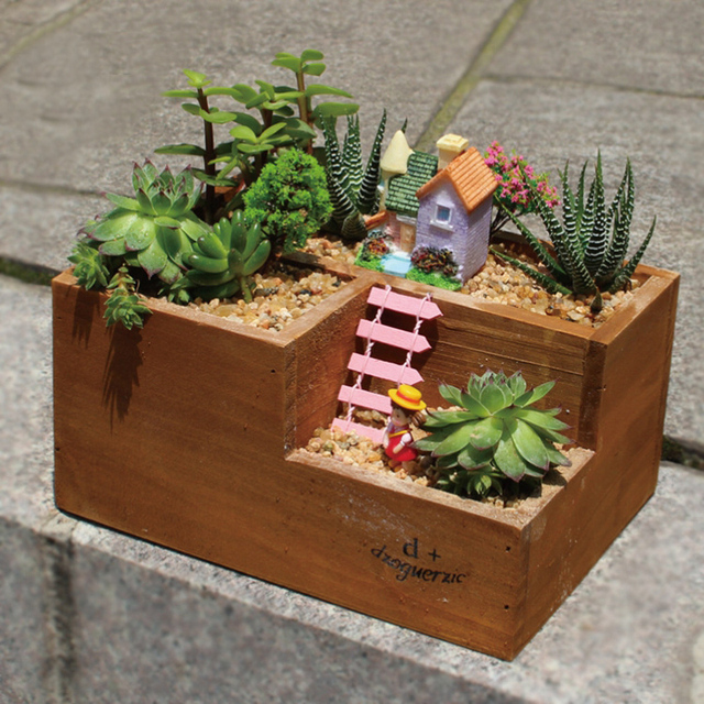 Three Lattice Wood Flower Pots Garden Supplies Succulent Plants Diy Cactus Bonsai Flowerpot Trays Home Desktop