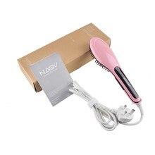 Big discount NASV Original LCD Display Ceramic Electric Hair Straightener Iron Hair Straightening Comb Irons Digital Brush Escova Alisadora