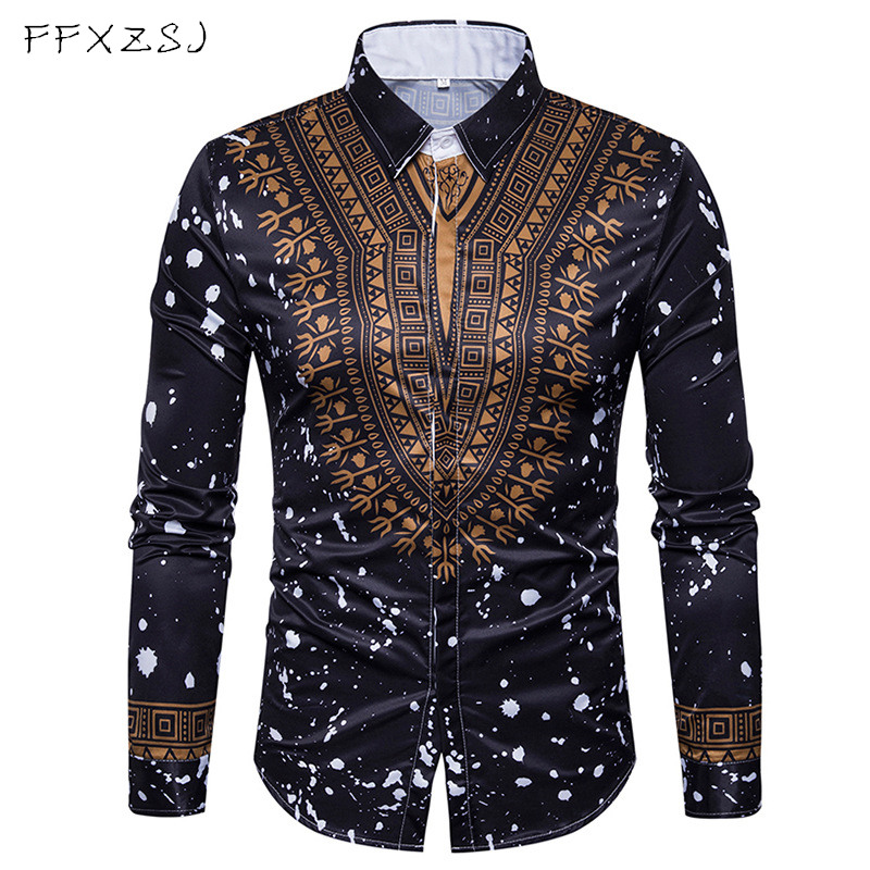 New Tops men's casual shirt 2018 spring 3D National style printing Floral pattern men fashion Edition long sleeve Shirt EU size