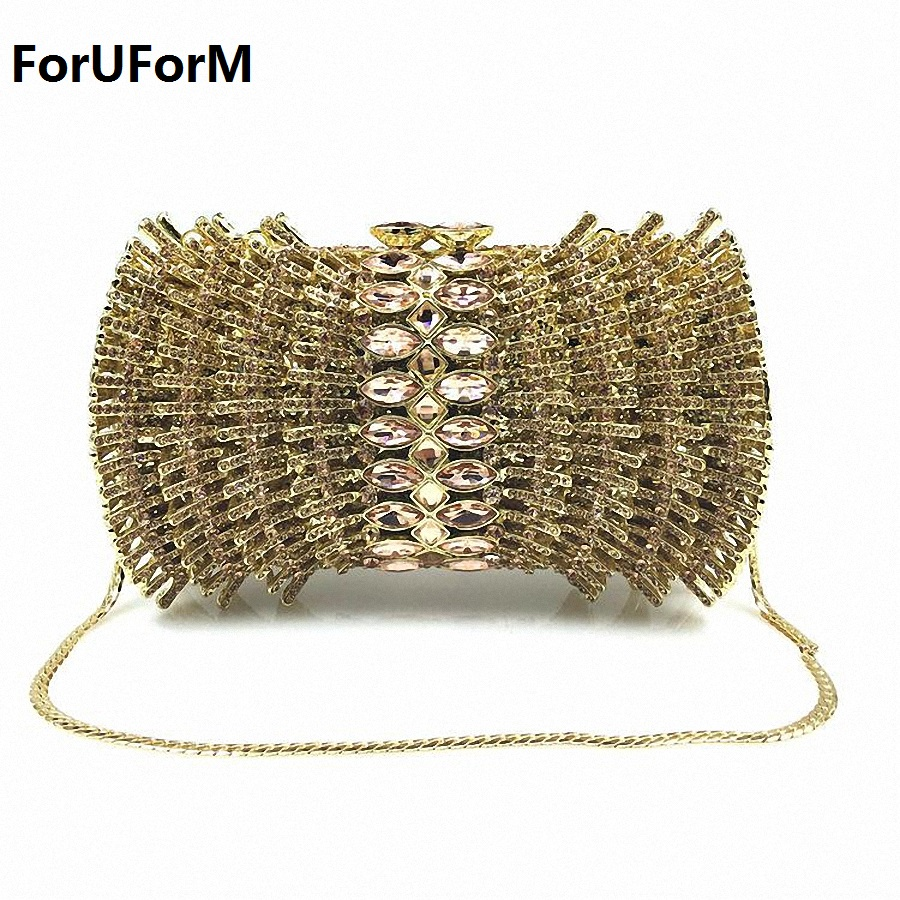ForUForM New Luxury ladies clutch evening bags Gold crystal Clutch bags banquet bags women soiree handbag prom Bling bag LI-1577 luxury crystal clutch handbag women evening bag wedding party purses banquet