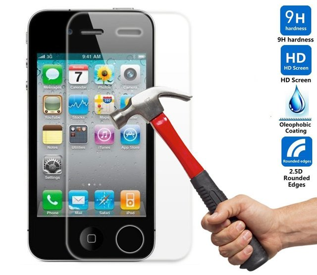 1591bb5c6e0 Ultra Delgada Pantalla de Vidrio Templado Protector para iphone 4S 4 caso  Original capa de fundas