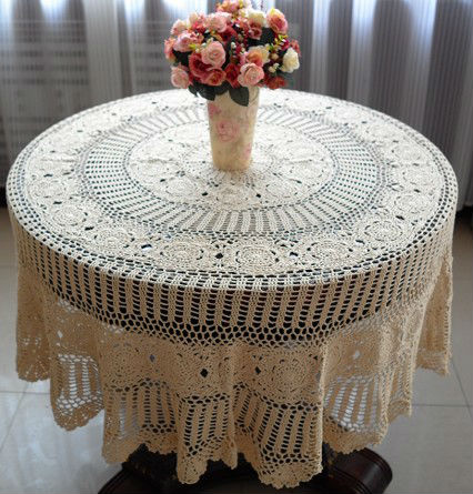 160CM Cottage Cotton Shabby Chic Round Beige Vintage Handmade Crochet Table  Cloths In Tablecloths From Home U0026 Garden On Aliexpress.com | Alibaba Group