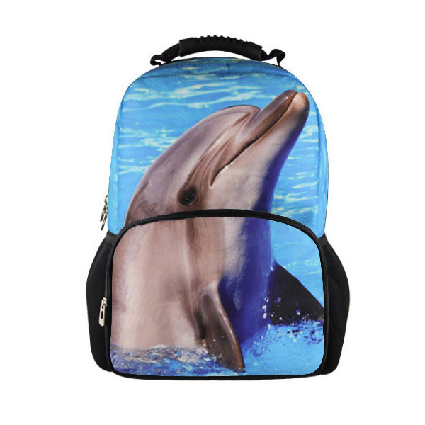 FORUDESIGNS Fashion Mens Animal Backpacks 3D Zoo Dolphin Printing Student School Knapack Casual Women Travel Backbag Rucksack