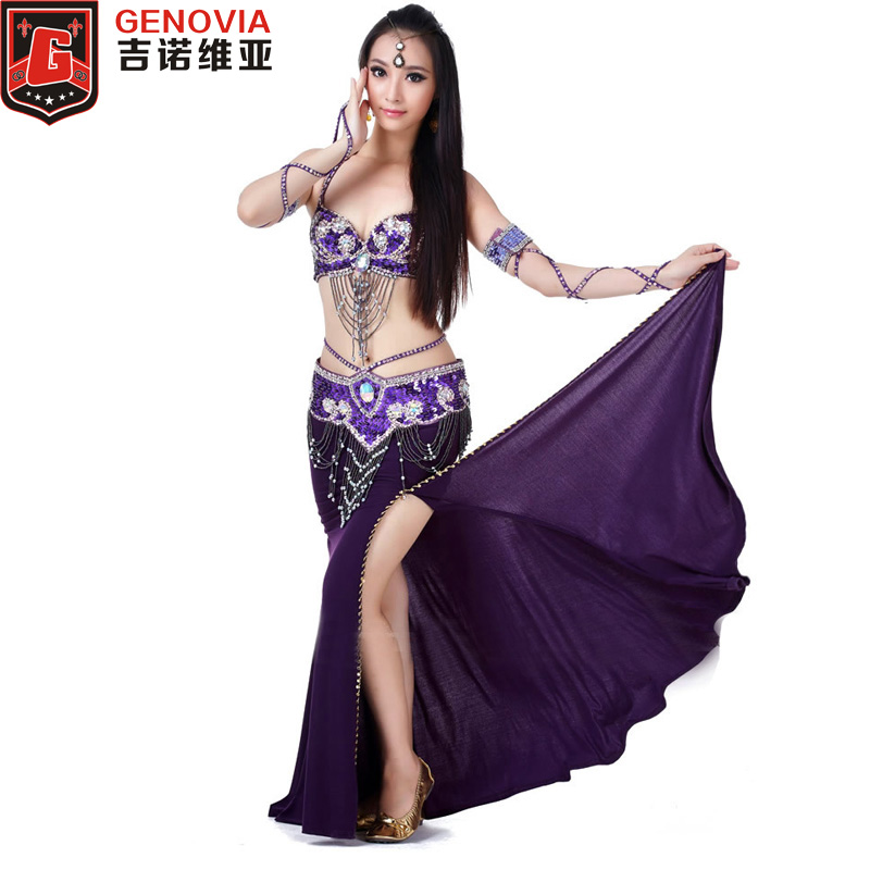 2019 Performance Belly Dance Costume Set 3 Piece Suit Belly Dance Bead Bra & Belt & Skirt Female Oriental Dance Clothes
