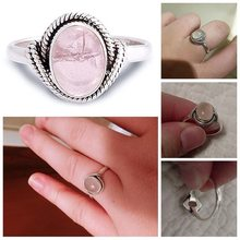 Retro Marcasite 925 Sliver Rose Quartz Rings Fashion Oval Engagement Pink Crystal Bizuteria Pink Topaz 925 Sliver Jewelry Rings(China)