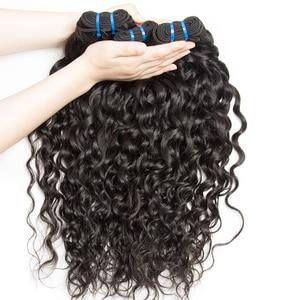 Image 2 - Alibele 髪マレーシアの水波バンドルと閉鎖 100 レミー人間の髪のバンドル閉鎖レミーの毛 3 バンドル閉鎖