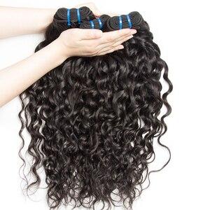 Image 2 - Alibele Hair malezyjski Water Wave zestawy z zamknięciem 100 Remy wiązki ludzkich włosów z zamknięciem Remy włosy 3 zestawy z zamknięciem