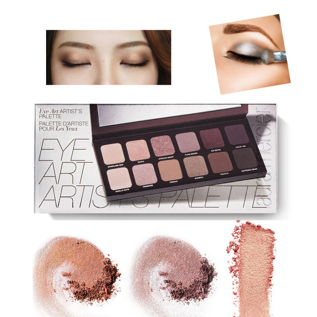 2016 Hot selling Ner brand LauM Artist's Palette Makeup eyeshadow with makeup brushes 12 species colour naked matte eye shadow.