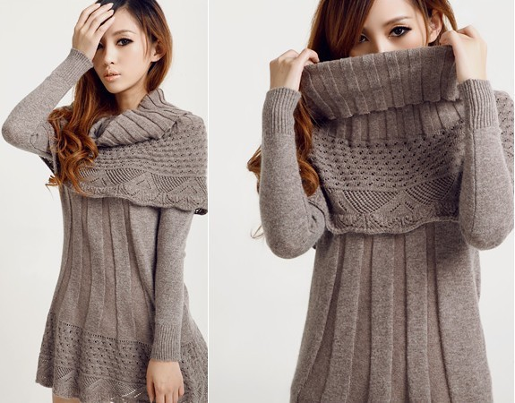 a87f6a2bbd7 Women s pullover crochet sweater dress long design slim one-piece dress  basic shirt sweater with big muffler scarf 5 color