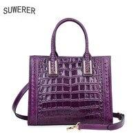 SUWERER 2018 New women genuine Leather bag Fashion luxury Crocodile pattern Embossing women bags designer women leather handbag
