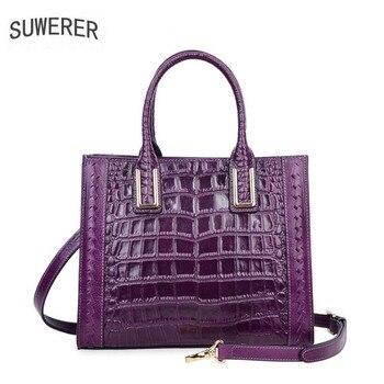 SUWERER 2020 New women genuine Leather bag Fashion luxury Crocodile pattern Embossing women bags designer women leather handbag