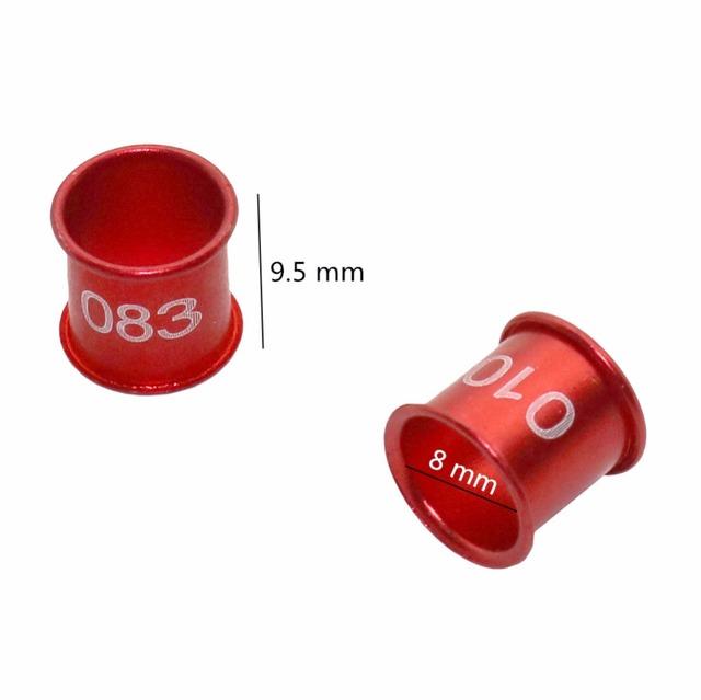 100 Pcs 8mm Diameter Bird Pigeon Digital Aluminum Foot Ring Custom 4 Colors NO.001-100 Aluminum Digital Rings