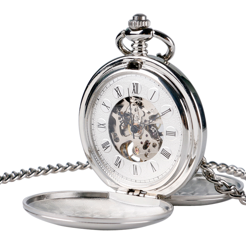 Silver Smooth Steampunk Pocket Watch Clock Women Wind Up Mechanical Hand Wind Pendant White Dial Simple Stylish Fob Watches
