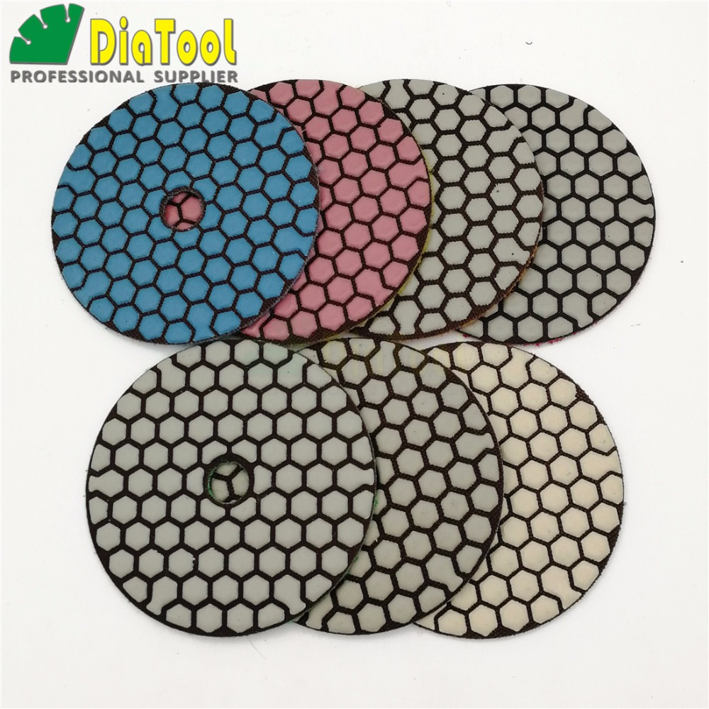 DIATOOL 7pcs/set  Dia 100MM Dry Diamond Flexible Polishing Pads Good Quality 4inch Stone Sanding Disc (new#50-1and #100-1)