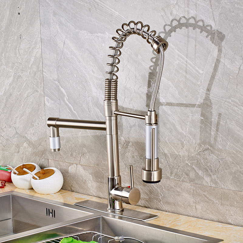 Nickel Brushed Solid Brass Kitchen Sink Faucet Swivel Spout Pull Out Mixer Tap with Cover Plate brushed nickel pull out down swivel 360 cover plate hose 923485720 deck kitchen sink faucet torneira cozinha faucets mixer tap