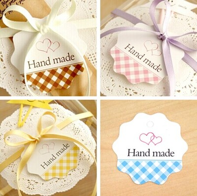 handmade paper labels 100pcs cute plaid design packaging decoration tags birthday party new year scrapbooking craft