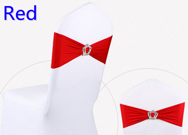Красный цвет Корона пряжки стул из лайкры пояс-кушак для свадьбы стулья украшения спандекс Группа стрейч галстук-бабочка лайкра лента ремн...
