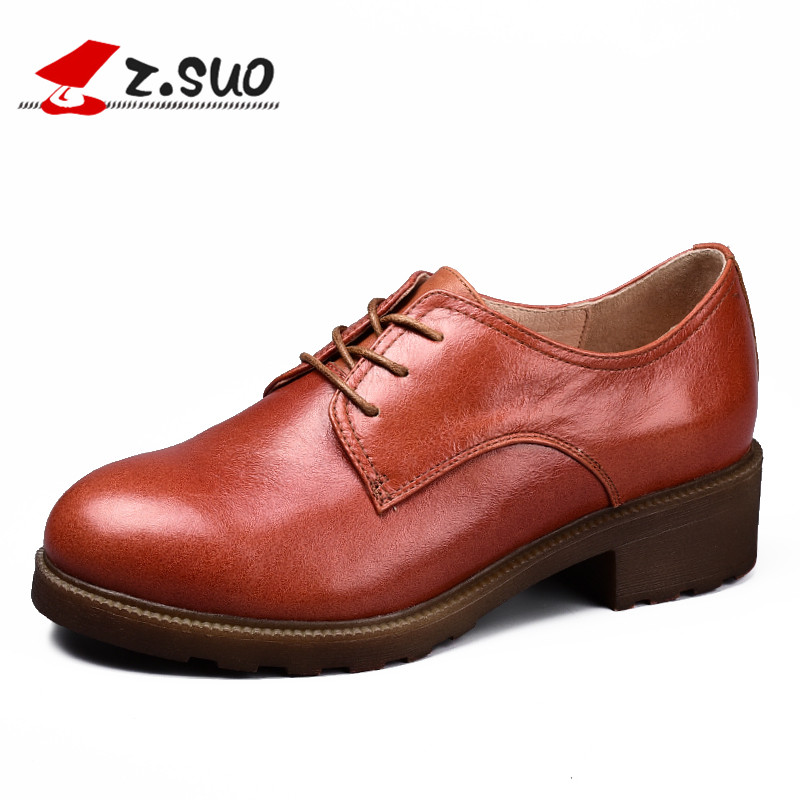 ФОТО Z.Suo Women's shoes spring and autumn leather casual shoes, TPR non-slip wear-resistant soles, low-fashion retro shoes, ZS18003N