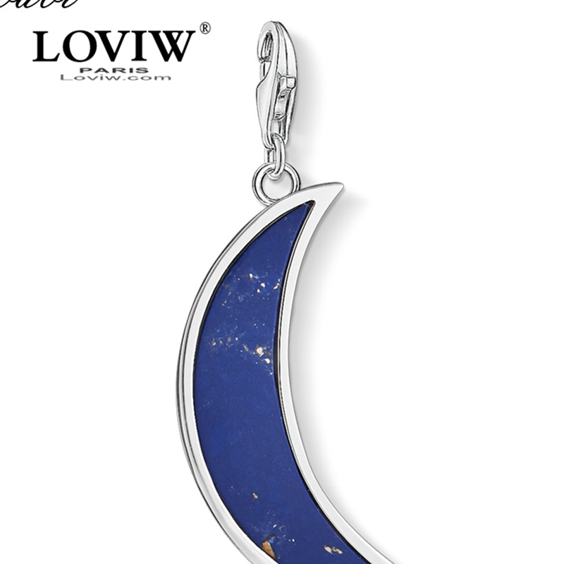 Reasonable Charm Pendant Moon Drak Blue,2019 New Fashion Jewelry Trendy Real Authentic 925 Sterling Silver Gift For Women Men Fit Bracelet 2019 New Fashion Style Online Jewelry & Accessories Charms