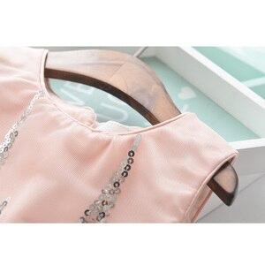 Image 3 - Amour DD & MM filles robes 2019 été nouveaux vêtements pour enfants filles mode paillettes couture maille sans manches robe de princesse