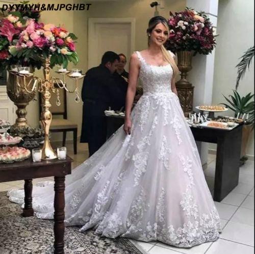 7c59867f69c White Lace Tulle Plus Size Bridal Wedding Dresses Tank Top Floor Length A  Line Corset Back Wedding Gowns 2019