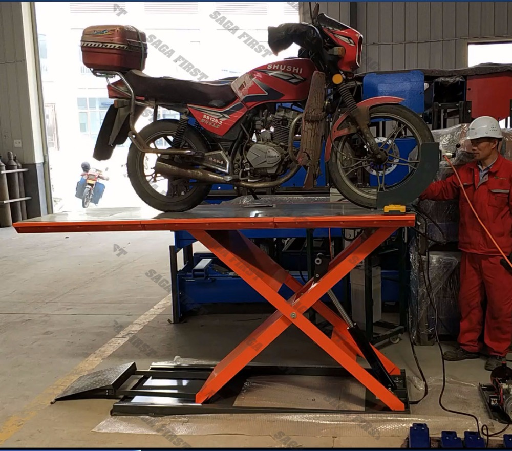 air hydraulic motorcycle bike scissor lift ramp motorcycle lift [ 1000 x 881 Pixel ]