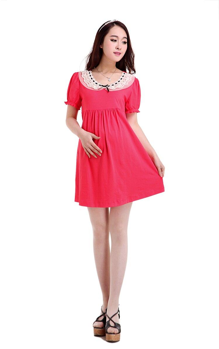 2014 Korean Elegant Dresses Pregnant Women Cute Pink ...