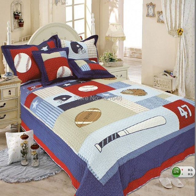 Free Shipping 100 Cotton Reactive Printing Kids Baseball Plane Crane Quilt Bedspread Engineering Truck Faery