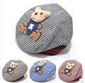 Primavera e verão crianças coreanas xadrez chapéu de basebol para menino e menina genérico urso dos desenhos animados boinas bebê tampas gorros