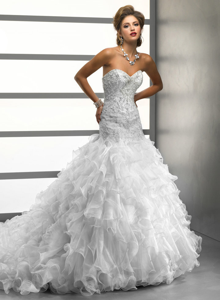 Ball Gown Sweetheart Silver Embroidery Drop Waist Long Train Crystal ...