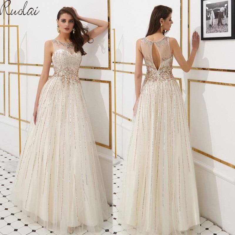 Luxury Evening Dresses Long 2019 Heavy Crystal sequins Evening Gowns For Women formal Dress vestidos de