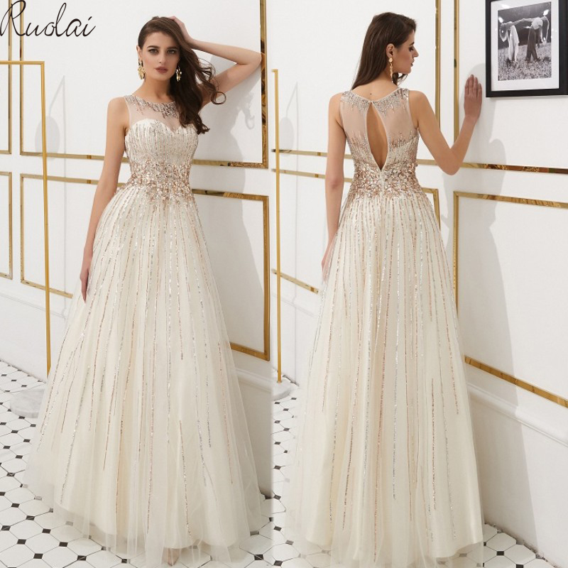 Luxury   Evening     Dresses   Long 2019 Heavy Crystal sequins   Evening   Gowns For Women formal   Dress   vestidos de fiesta vestido de noche