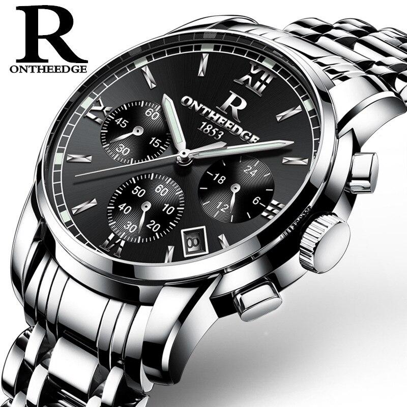 Relogios 2018 Newest High Quality Multi Functional Men Silver Stainless Steel  Business Waterproof Quartz Watch Hot Sale Zegarki