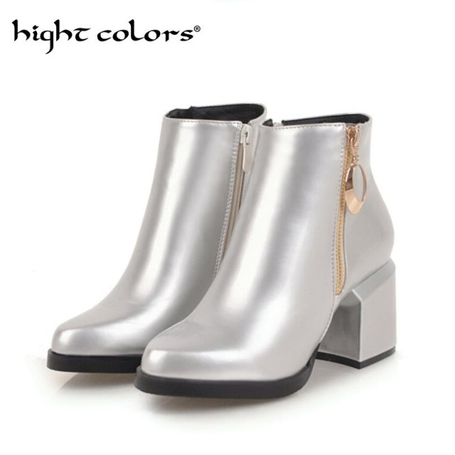 3e425b78a75f3 Golden Silver Booties Red Patent Leather Thick Heel Fashion Women Shoes  Platform Zipper Pointed Women Boots Big Size 34-47