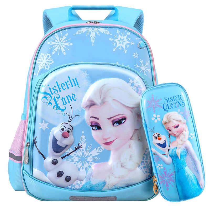 c2396d61b093 New 3D Blue Elsa Princess Girls School Bags With Pencil Case Set For ...