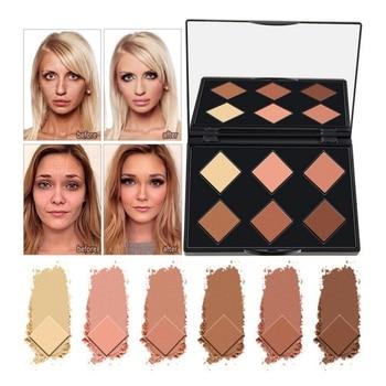 6 Colors Face Powder Highlighter Matte Contour Set Palette Makeup Foundation Concealer Capacity Powder W2 Bronzers & Highlighters