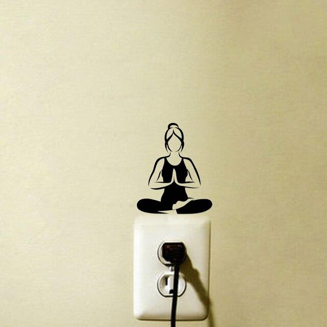 Thời trang yoga thiền vinyl tường decals chuyển đổi ánh sáng dán 5ws1007