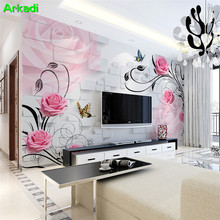 3d pink floral butterfly living room TV background wallpaper bedroom mural warm simple modern roses free shipping european style floral muyral living room theme hotel ktv bedroom background retro blue butterfly wallpaper mural