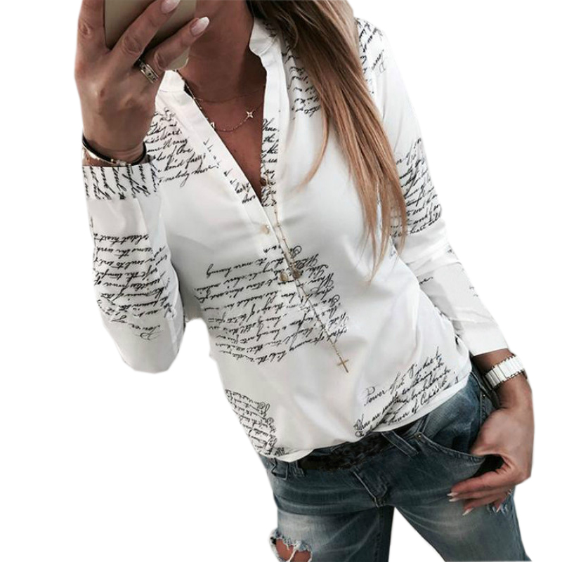 Письма печатаются кнопки v-образным вырезом пикантные Осенние Топы Для женщин модная женская белая блузка рубашка с длинными рукавами весн...