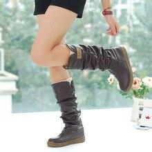 ENMAYERจัดส่งฟรีใหม่ฤดูหนาวรองเท้าแบนอัศวินรองเท้าหิมะสะดวกสบาย5สีสีดำสีขาวสีชมพู