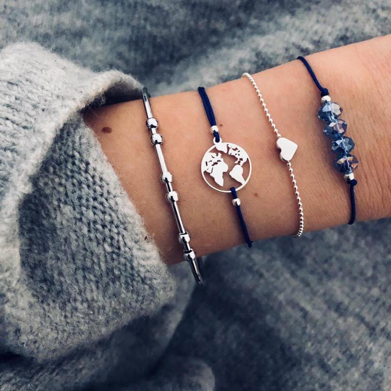 New 4 Pieces Bohemian style vintage ladies bracelet Small Beads Multi Layer charm Bangle 2019 Fashion Female Jewelry in Charm Bracelets from Jewelry Accessories