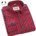 Langmeng 2016 hot venda da marca retro camisas xadrez primavera outono camisas casuais de alta qualidade dos homens de manga comprida camisa masculina