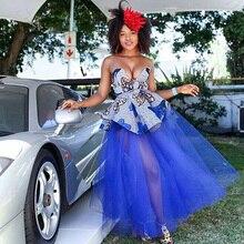 Африканская мода, сексуальные видеть через ярко-синий длинный тюлевые женские юбки эластичные трапециевидные просто 3 слоя пачка юбка макси