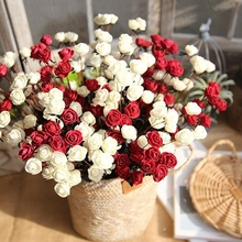 10 pcs PE Mini Rose Autumn Artificial Flower Silk Fake Flowers for Wedding Party DIY Wreath Roses