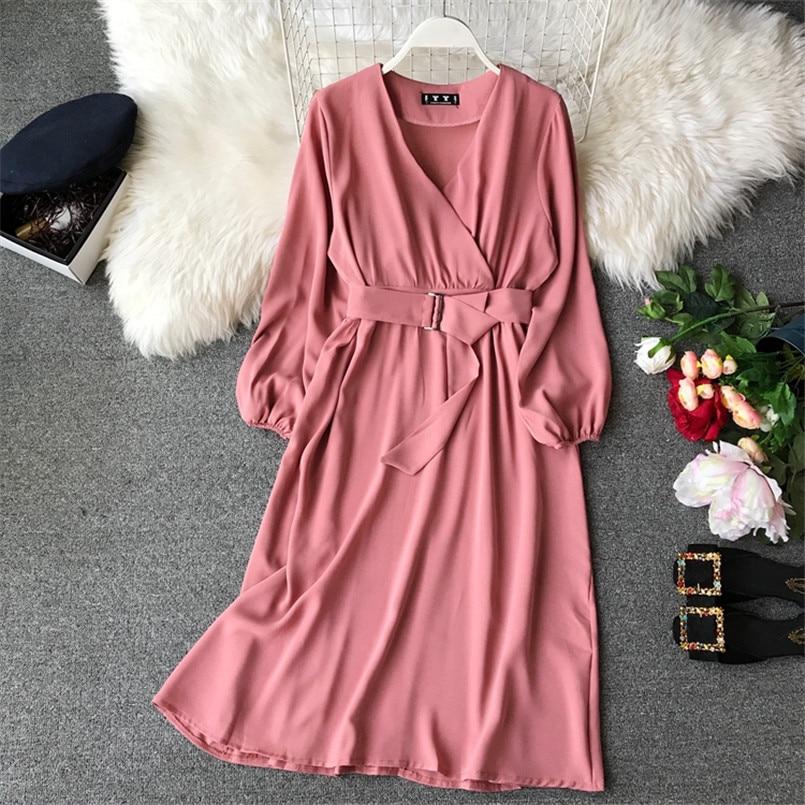 Fashion 2019 V Neck Spring Autumn Bandage Midi Long Dress Party Vestidos Women Casual Elegant Evening Tie Vestido de festa 3