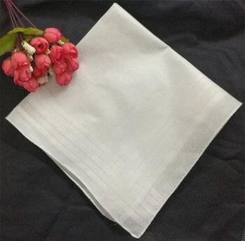 Mouchoirs à rayures en coton blanc | 16.5x16.5 , en coton blanc, à la mode et aux bords roulés, hankies hanky de mariage simples pour hommes, 12 pièces/lot