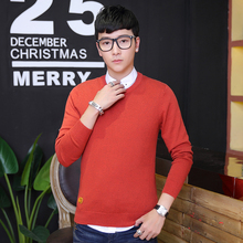 Man Sweater Solid Korean Polo Sweaters Masculino Christmas Long Sleeve Pull Homme Knitted Mens Jumpers O-neck Merino Pullover 30